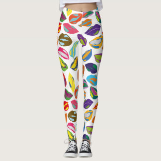 Psycho retro colorful pattern Lips Leggings