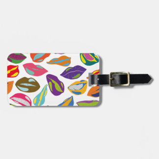 Psycho retro colorful pattern Lips Luggage Tag
