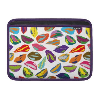Psycho retro colorful pattern Lips MacBook Sleeves