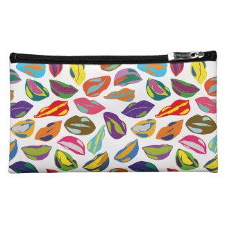 Psycho retro colorful pattern Lips Makeup Bag