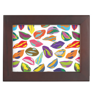 Psycho retro colorful pattern Lips Memory Boxes