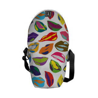 Psycho retro colorful pattern Lips Messenger Bag