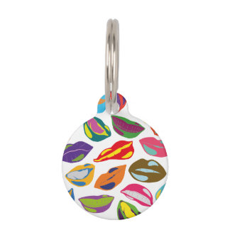 Psycho retro colorful pattern Lips Pet ID Tag