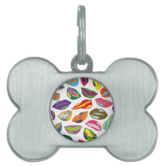 Psycho retro colorful pattern Lips Pet Tag