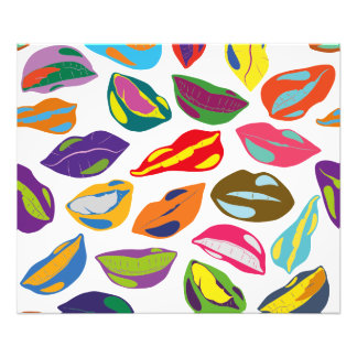 Psycho retro colorful pattern Lips Photo Print