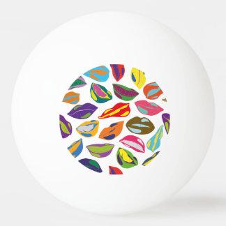 Psycho retro colorful pattern Lips Ping Pong Ball
