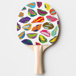 Psycho retro colorful pattern Lips Ping Pong Paddle