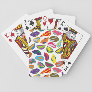 Psycho retro colorful pattern Lips Playing Cards