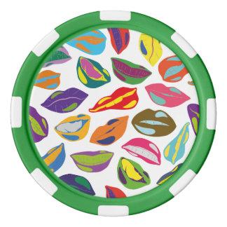 Psycho retro colorful pattern Lips Poker Chip Set