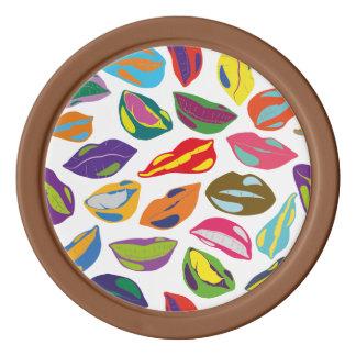 Psycho retro colorful pattern Lips Poker Chips