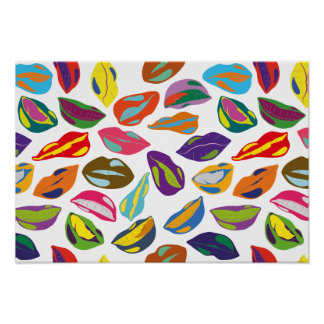 Psycho retro colorful pattern Lips Poster