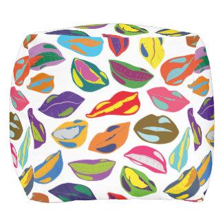 Psycho retro colorful pattern Lips Pouf