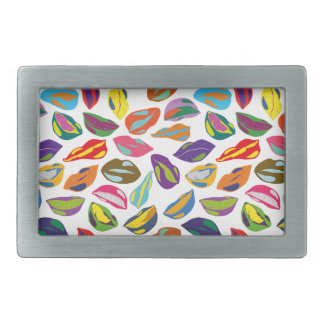 Psycho retro colorful pattern Lips Rectangular Belt Buckle