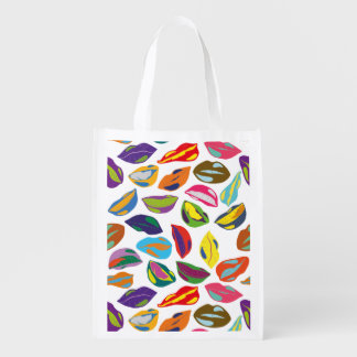 Psycho retro colorful pattern Lips Reusable Grocery Bag