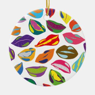 Psycho retro colorful pattern Lips Round Ceramic Ornament
