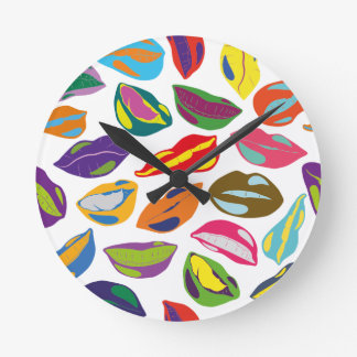 Psycho retro colorful pattern Lips Round Clock