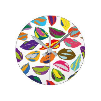 Psycho retro colorful pattern Lips Round Clock
