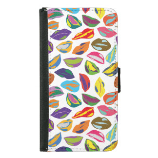 Psycho retro colorful pattern Lips Samsung Galaxy S5 Wallet Case