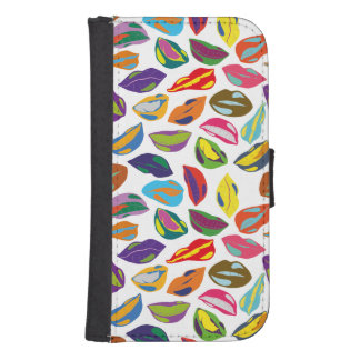 Psycho retro colorful pattern Lips Samsung S4 Wallet Case