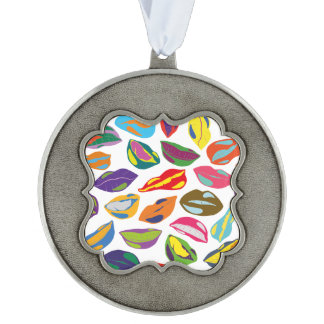 Psycho retro colorful pattern Lips Scalloped Pewter Ornament