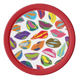 Psycho retro colorful pattern Lips Set Of Poker Chips