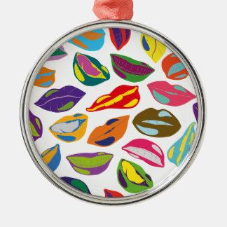 Psycho retro colorful pattern Lips Silver-Colored Round Ornament