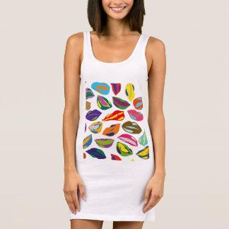 Psycho retro colorful pattern Lips Sleeveless Dress