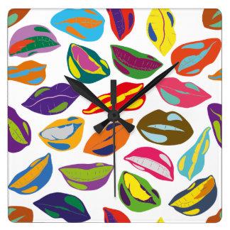 Psycho retro colorful pattern Lips Square Wall Clock