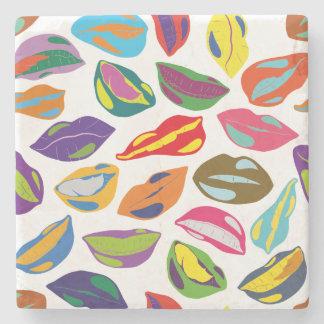 Psycho retro colorful pattern Lips Stone Coaster