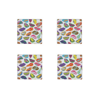 Psycho retro colorful pattern Lips Stone Magnets