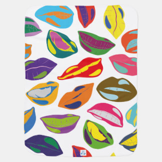 Psycho retro colorful pattern Lips Swaddle Blankets