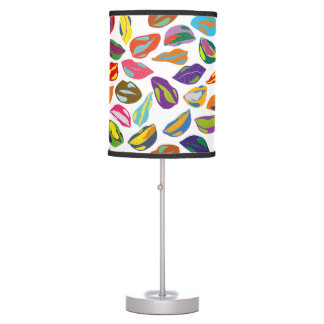Psycho retro colorful pattern Lips Table Lamps