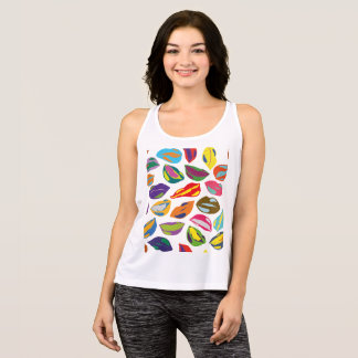 Psycho retro colorful pattern Lips Tank Top