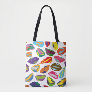 Psycho retro colorful pattern Lips Tote Bag
