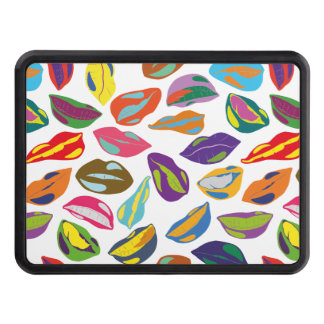 Psycho retro colorful pattern Lips Trailer Hitch Cover