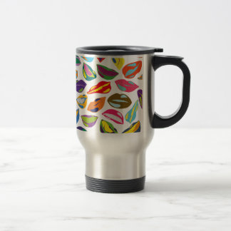 Psycho retro colorful pattern Lips Travel Mug