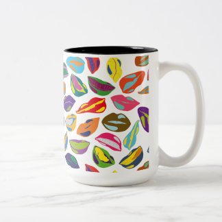 Psycho retro colorful pattern Lips Two-Tone Coffee Mug