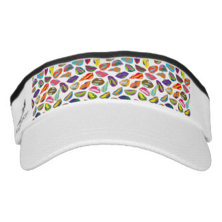 Psycho retro colorful pattern Lips Visor