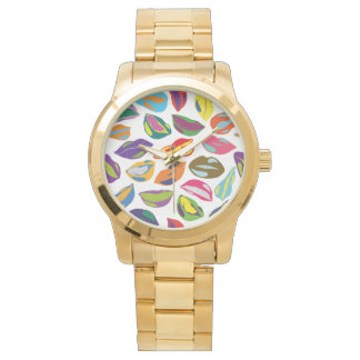 Psycho retro colorful pattern Lips Watch