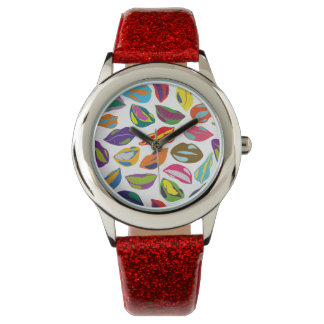 Psycho retro colorful pattern Lips Watches
