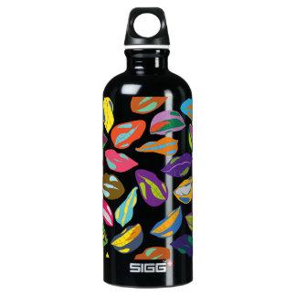 Psycho retro colorful pattern Lips Water Bottle