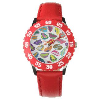 Psycho retro colorful pattern Lips Wrist Watch