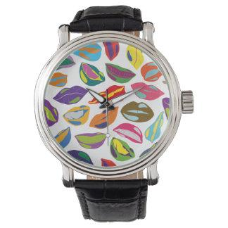 Psycho retro colorful pattern Lips Wrist Watches