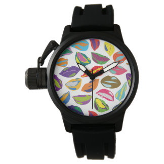 Psycho retro colorful pattern Lips Wristwatch