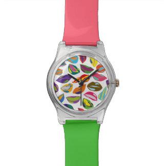 Psycho retro colorful pattern Lips Wristwatch