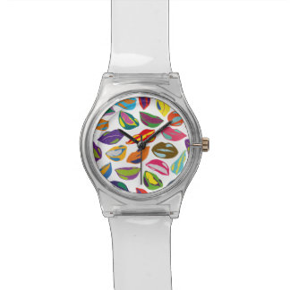 Psycho retro colorful pattern Lips Wristwatches