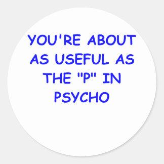psycho round sticker