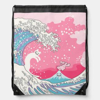 Psychodelic Bubblegum Kunagawa Surfer Cat Drawstring Bag