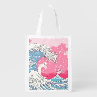 Psychodelic Bubblegum Kunagawa Surfer Cat Grocery Bags