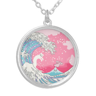 Psychodelic Bubblegum Kunagawa Surfer Cat Silver Plated Necklace